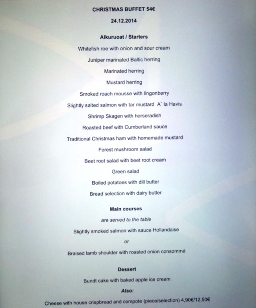 Havis Christmas Eve buffet menu - reijosfood.com